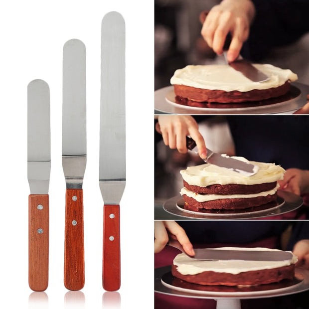 Stainless Steel Butter Cake Cream Knife Spatula Wooden Handle Kitchen 6/8/10 Inch