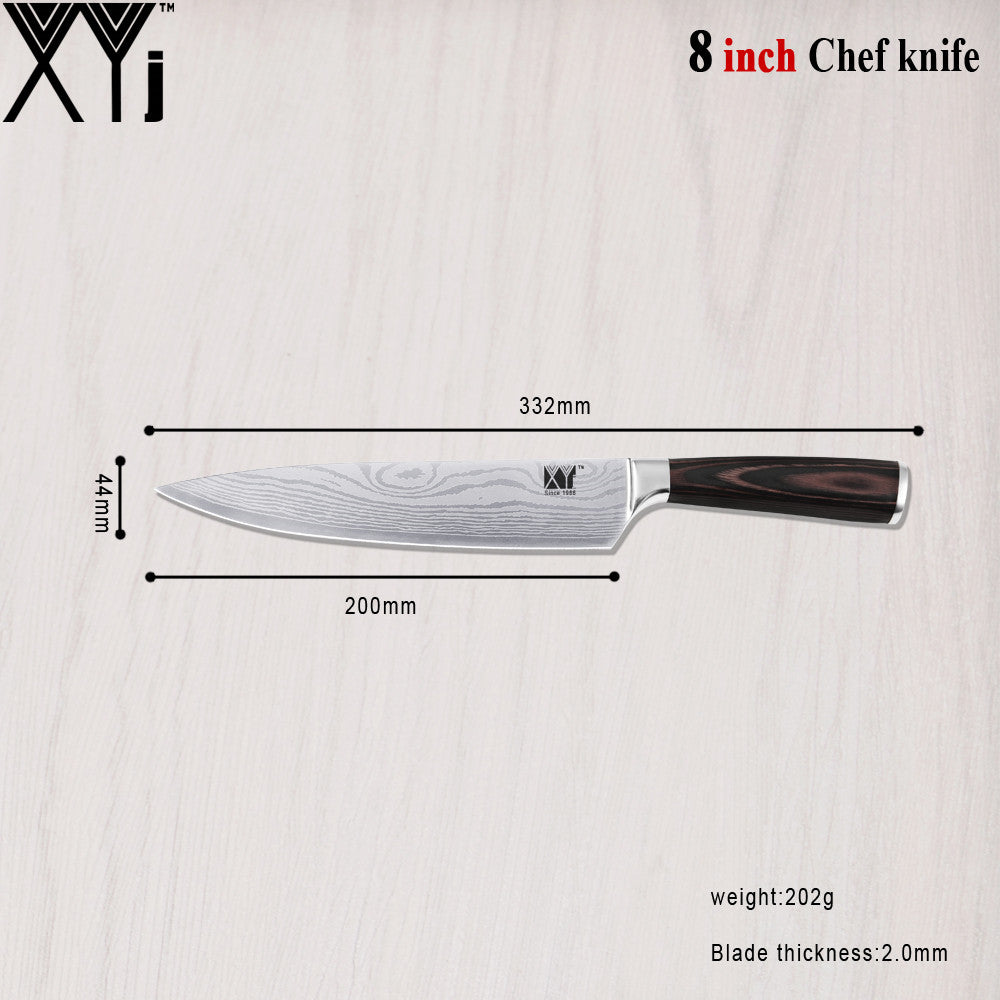 "Wave Veins Stainless Steel Knife 4 Pieces Kichen Knife Set Cooking Tools 3.5"" 7"" 8"" 8"" Kitchen Knife"