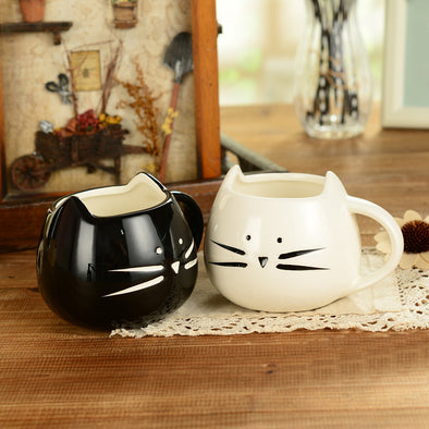 Cat design coffee mug black and white