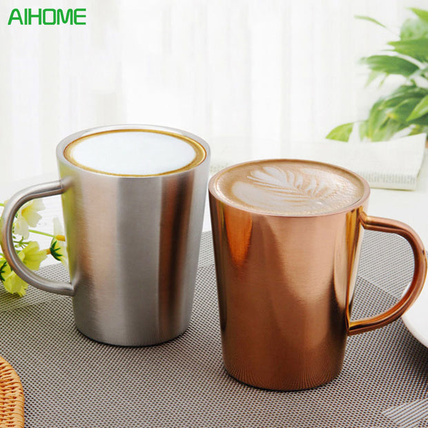 350 ML Stainless Steel Copper Plated Coffee Cup Double Layers 304 High Temperature Resistance Milk Tea Mug