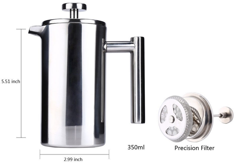 Quality Stainless Steel Coffee Pot With Double Wall Insulation 350/ 800 / 1000 ml
