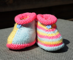 Layette chaussons taille 0/3 mois tricoté main