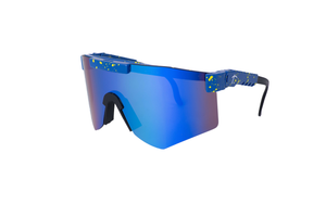 blue polarized cycling sunglasses for men