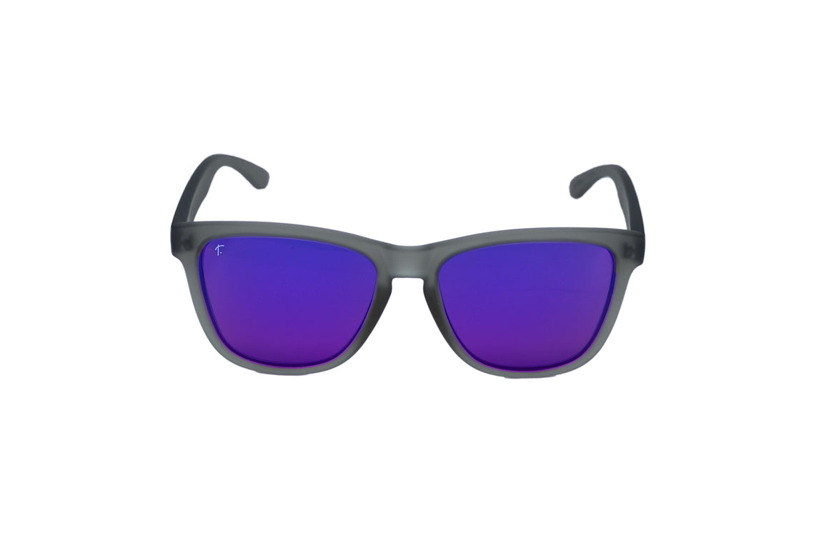 women's running sunglasses. Grey/ Purple mirrored lens sunglasses. polarized sunglasses. sunglasses for women and men