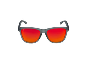 womens running sunglasses. grey/ red mirrored lens sunglasses. polarized sunglasses. sunglasses for women and men