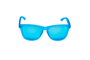 women's running sunglasses. blue/ blue mirrored lens sunglasses. polarized sunglasses. sunglasses for women and men