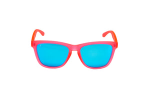 Running Sunglasses. sunglasses for runners. Polarized Sunglasses for women and men. Coral frame/ Blue mirror lens.