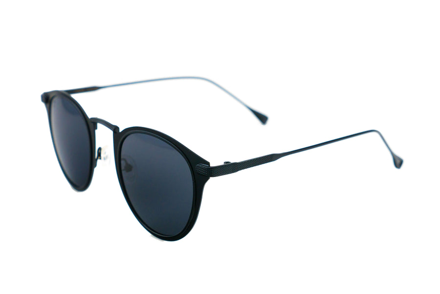 Tierra Sunglasses - Semi round sunglasses for women. Black frame/ black mirrored lens.