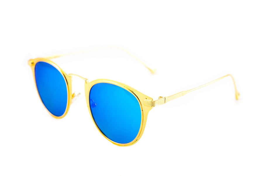 Tierra Sunglasses - Semi round sunglasses for women. Gold frame/ Aqua Blue mirrored lens