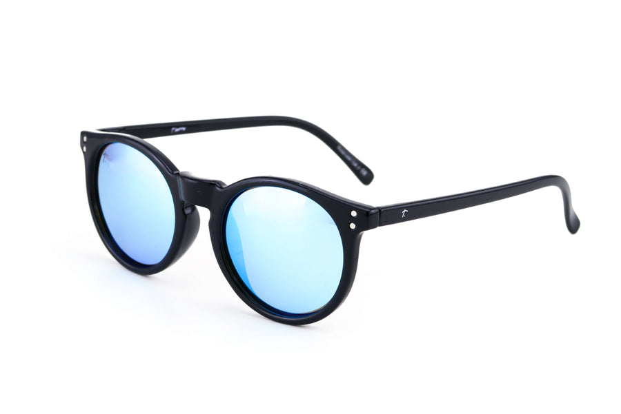 black round sunglasses. polarized sunglasses for women. blue lens sunglasses