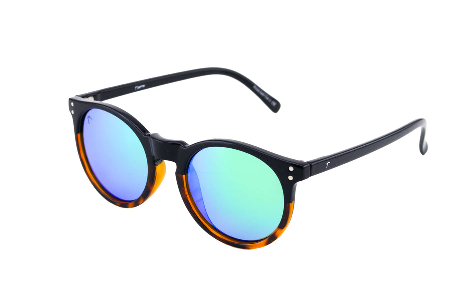 round sunglasses. tortoise shell sunglasses. green lens sunglasses