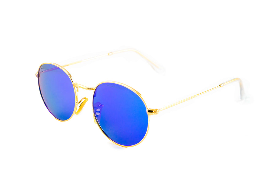 Tierra Sunglasses - Round sunglasses for women. Gold frame/ Sea Blue mirrored lens