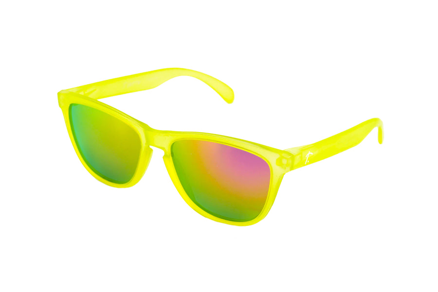 womens running sunglasses. polarized  sunglasses. sunglasses for women/men. Yellow frame/ pink mirrored lens