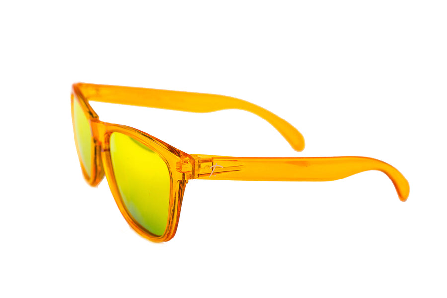 Tierra Polarized Running Sunglasses - Wayfarer sunglasses for men/ women. Orange frame/ Orange lens. sunglasses for runners