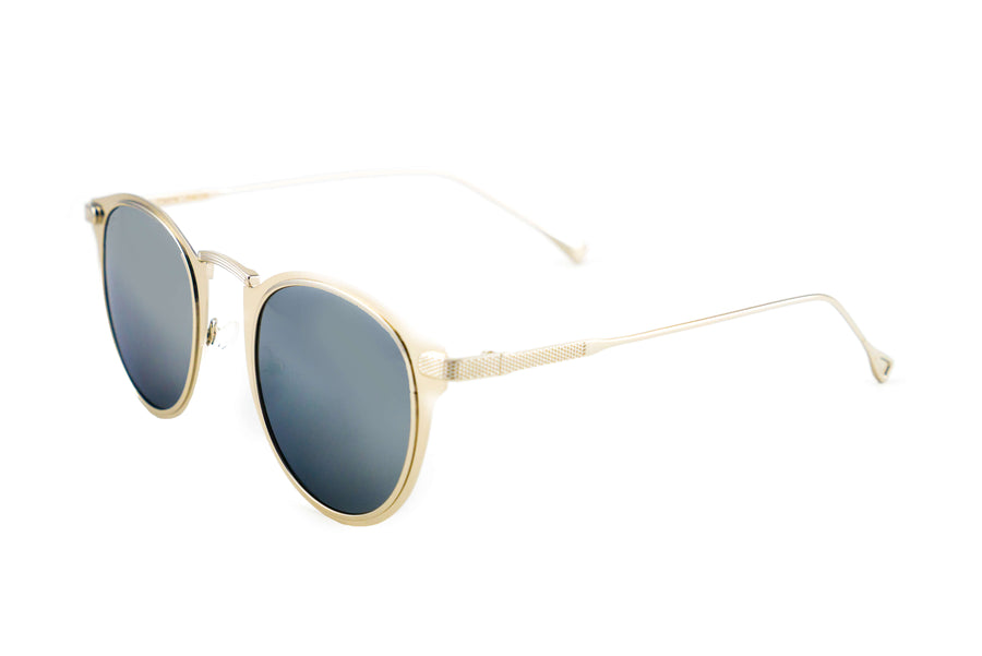 Tierra Sunglasses - Semi round sunglasses for women. Gold frame/ Silver mirror lens