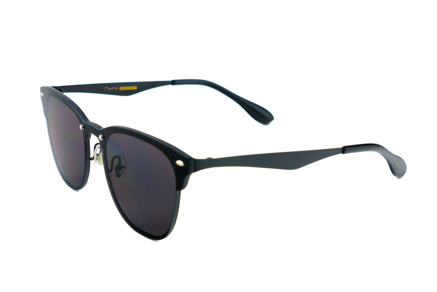 Tierra Sunglasses - Square sunglasses for women/men. Black frame/ black mirrored lens.