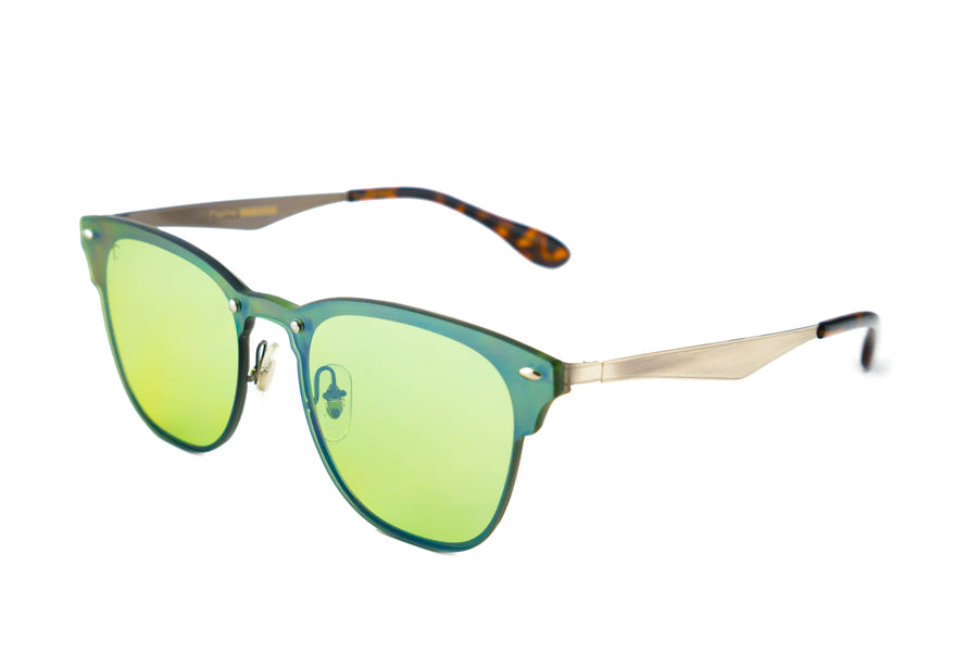 Tierra Sunglasses - Square sunglasses for women/men. Green frame/ green mirrored lens