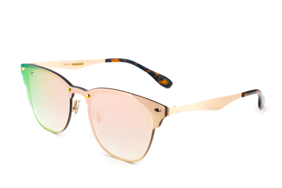 Tierra Sunglasses - Square sunglasses for women/men. Pink frame/ pink mirrored lens