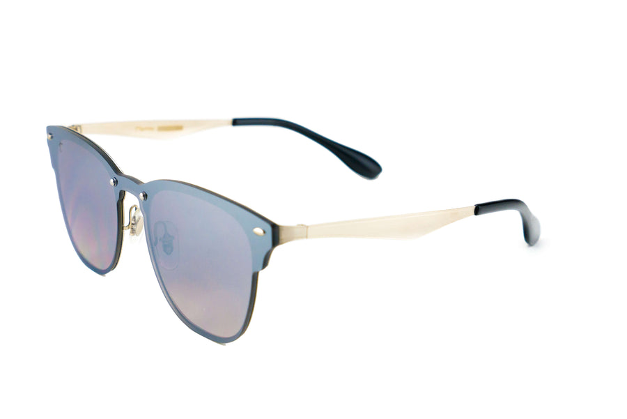 Tierra Sunglasses - Square sunglasses for women/men. Silver frame/ silver mirrored lens
