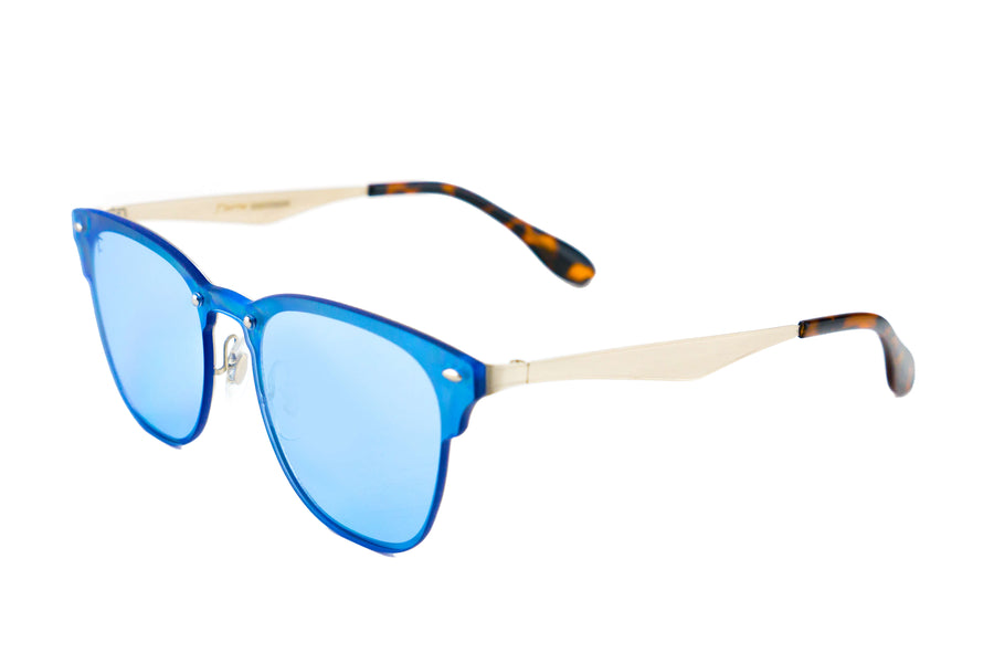 Tierra Sunglasses - Square sunglasses for women/men. Blue frame/ Blue mirrored lens