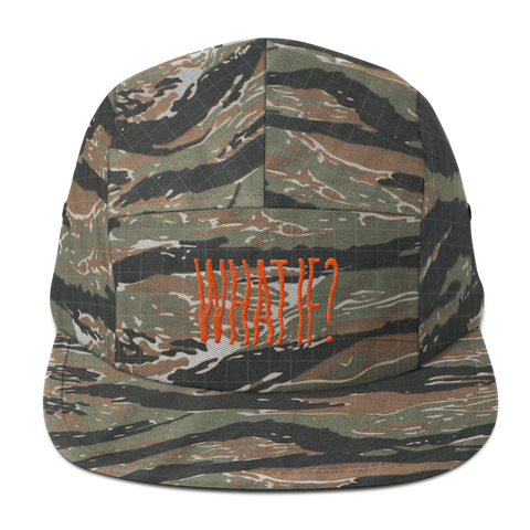 What If? - 5 Panel Cap - Orange Writing