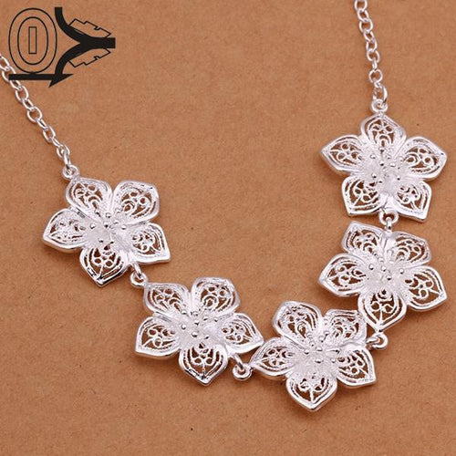 Silver Plated Necklace & Pendant, Five Flowers Necklace