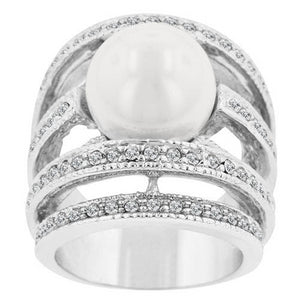 Top Quality CZ Ring White silver Plated Micro-inserts Crystals Imitate Pearl Ring