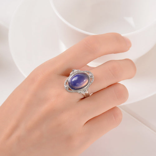 Vintage Retro Color Change Mood Ring Oval Emotion Feeling Changeable Ring Temperature