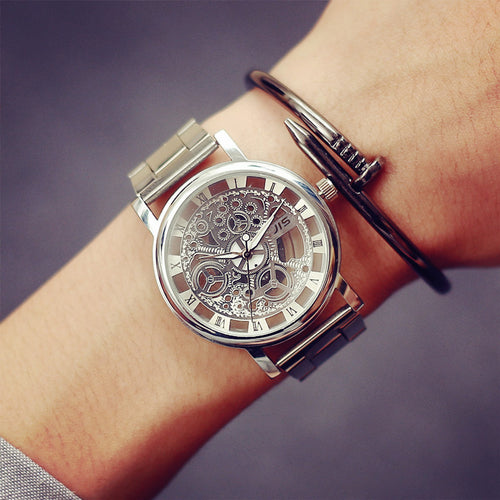 Gold Color Mens Watch. skeleton design