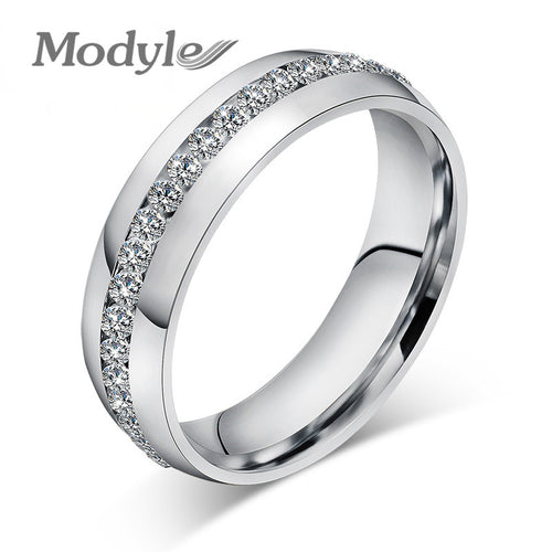 Modyle Fashion Wedding Design Stainless Steel Exquisite Inlaid Cubic Zirconia Ring for Women