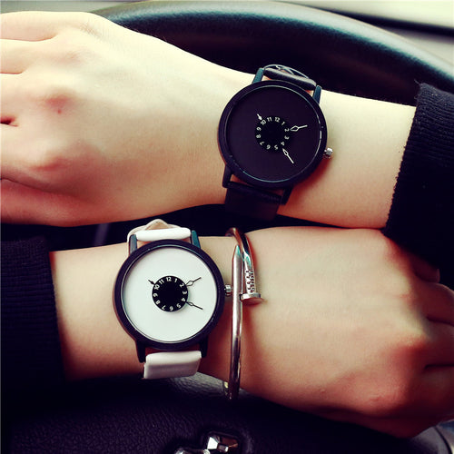 New Creative Pointer Leather watch White and Black  Quartz-watch