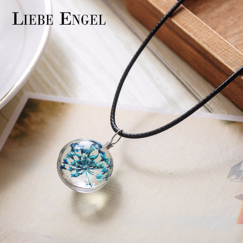 5 Colors Dried Flower Glass Necklaces & Pendants Wax Rope Choker Necklace Statement Necklace