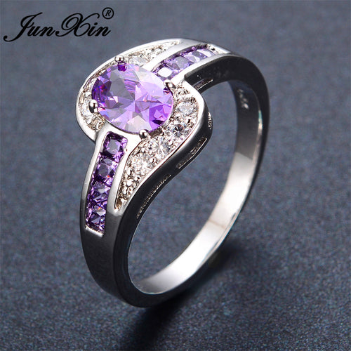 Purple Oval Ring Fashion White & Black Gold Filled
