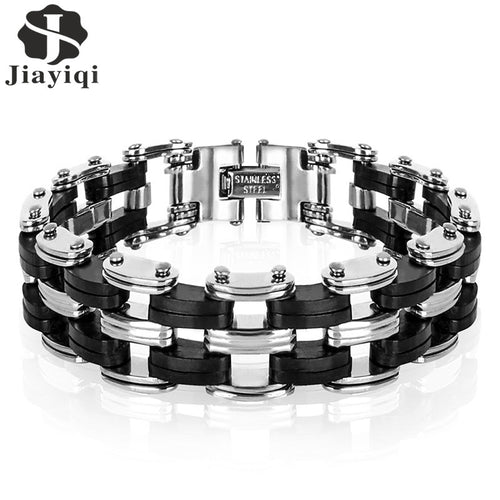 Jiayiqi Men Bracelet High Quality Stainless Steel Silicone Bracelet