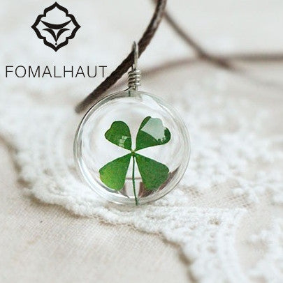 Crystal glass Ball Clover Necklace Long Strip Leather Chain Dried flowers Pendant Necklaces