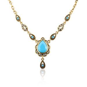 Ethnic Turkish style NecklacesVintage Gold Color Water Drop Resin Pendant &Necklace