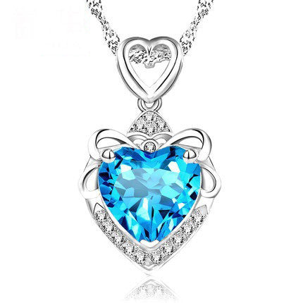 Luxury Purple Blue Crystal Necklace Pendants, Love Heart Design