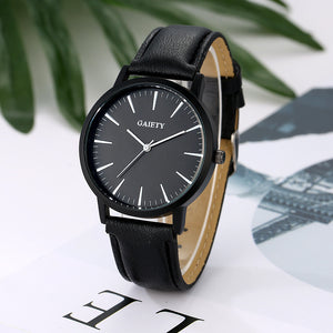 Dress Watch Leather Band Analog Quartz Round Wrist Watch