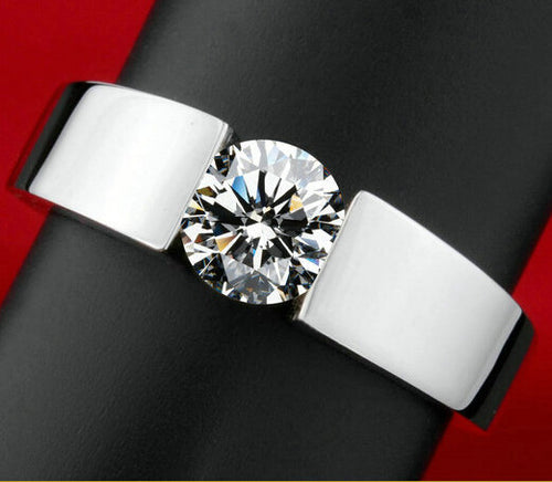 men silver color wedding Ring Engagement Ring