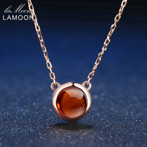 100% Natural Round Orange Red Garnet 925 Sterling Silver Jewelry Rose Gold Chain Pendant Necklace