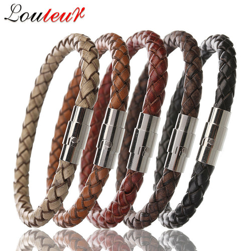 New 100% Genuine Braided Leather Bracelet Men Women Stainless Steel Magnetic Clasp