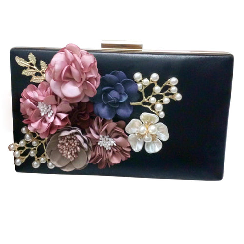 The Appliques Pattern Flowers. Hand Evening Bags Purses Clutch
