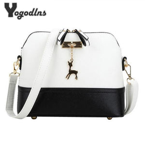 leather small shoulder bag (cross body bag) Deer Spliced Collision color