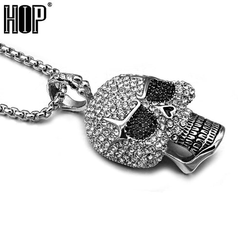 Titanium Stainless Steel, Pave Rhinestone Skeleton Skull Pendant Necklace