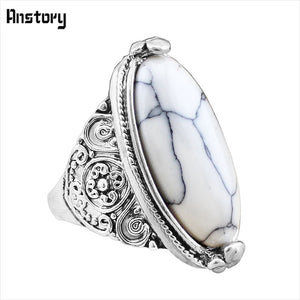 Flower Band Oval Natural Stone Rings. Vintage Look Antique Silver Plated