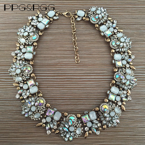 PPG&PGG Women Fashion Crystal Jewelry Charm Choker Statement Bib Collar Necklace