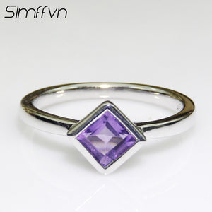 Vintage 925 Sterling Silver 5 mm Square Natural Amethyst  Anniversary Ring Engagement Ring