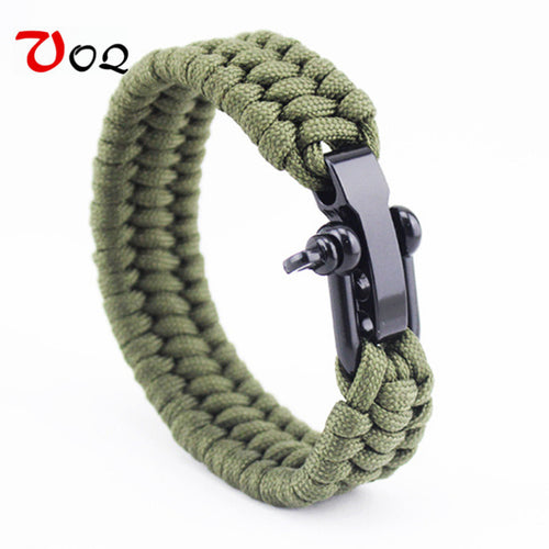 Rescue Paracord Bracelets Parachute Cord, Emergency Braided Rope Stainless Steel buckle