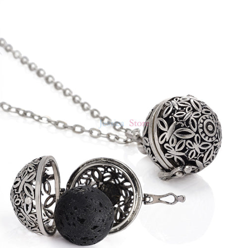 5Pcs Antique 16mm Lava Stone Diffuser Locket Necklaces For Oil Necklace Aromatherapy