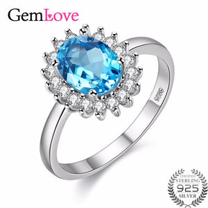 Blue Gemstone Ring. 1ct Topaz 925 Sterling Silver. Fine Jewelry Natural Stones Ring